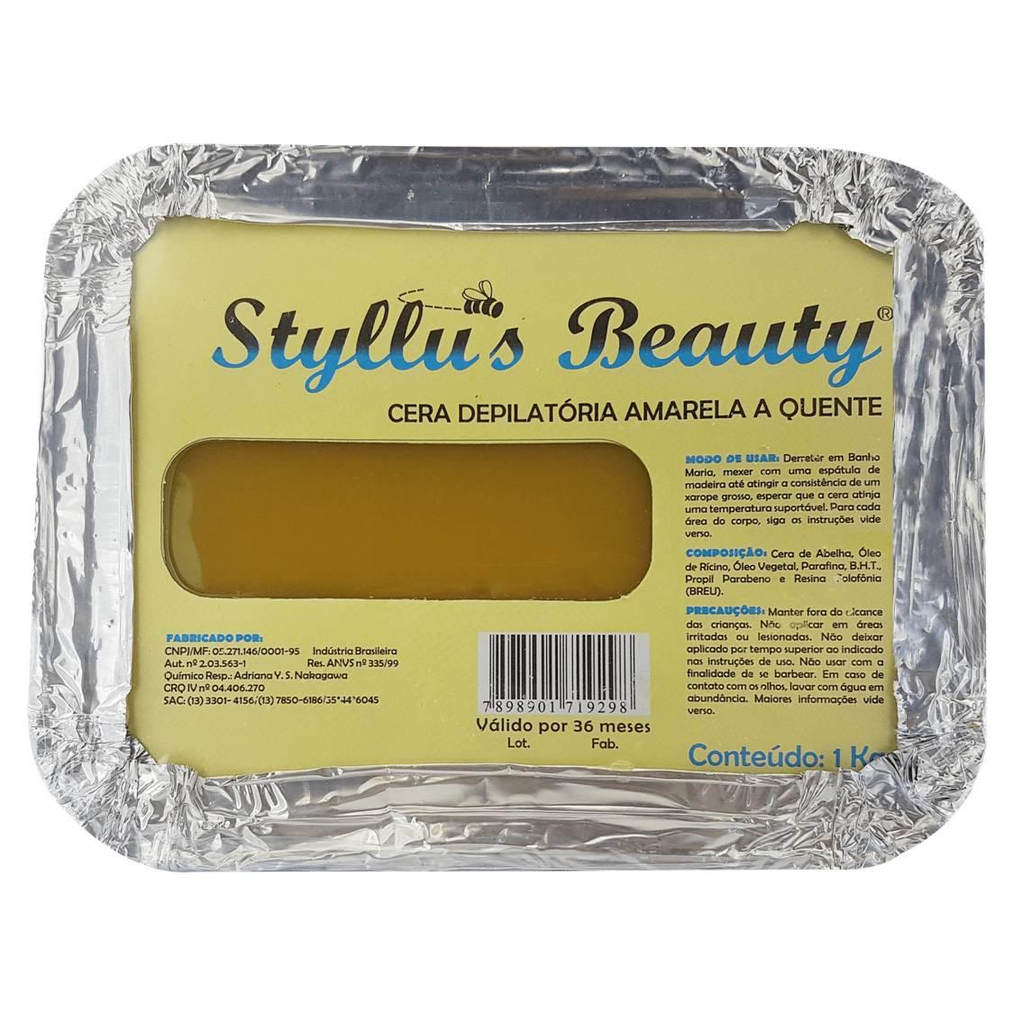 Cera Depilatória quente amarela 1 kg - Styllus Beauty