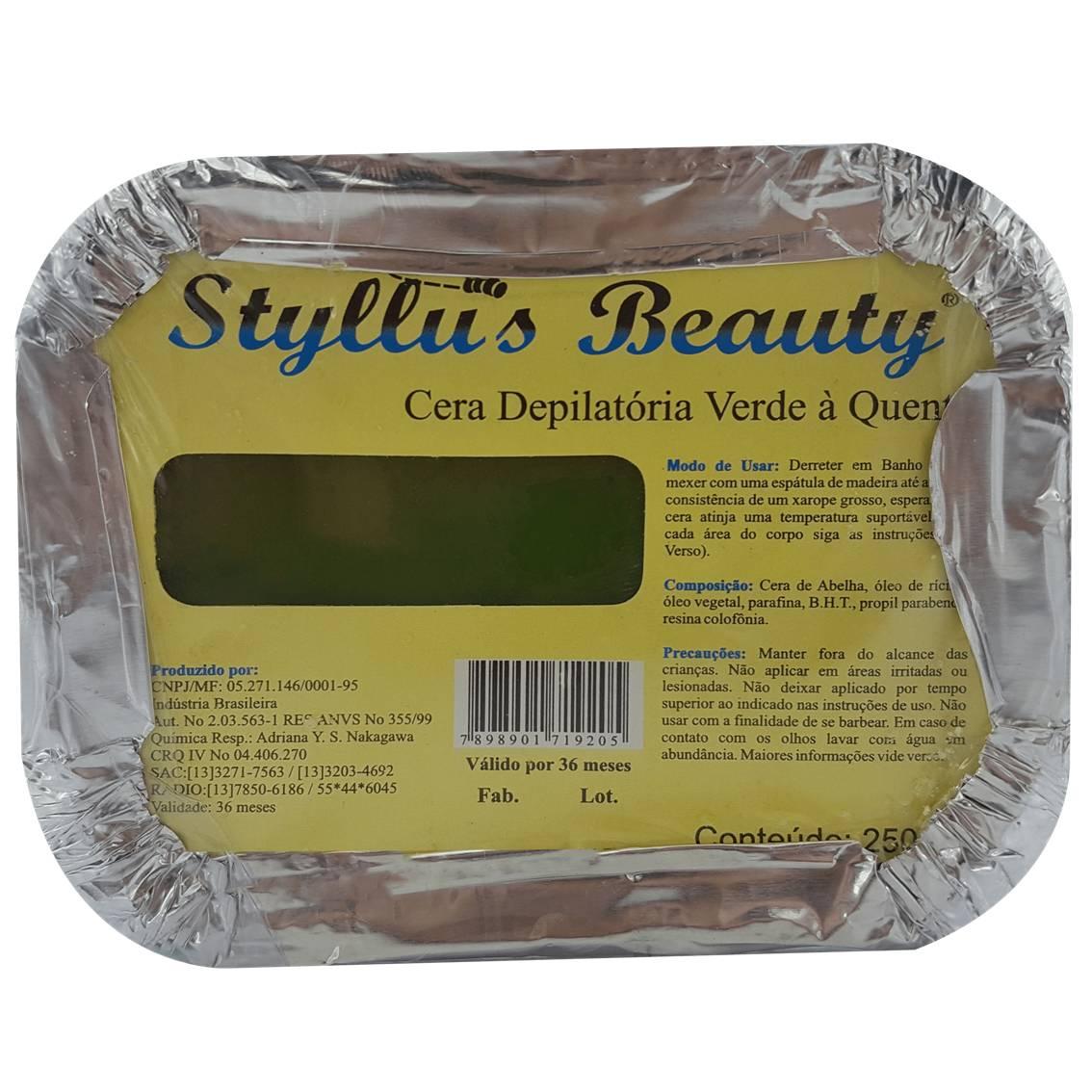 Cera Depilatória quente verde 250g - Styllus Beauty