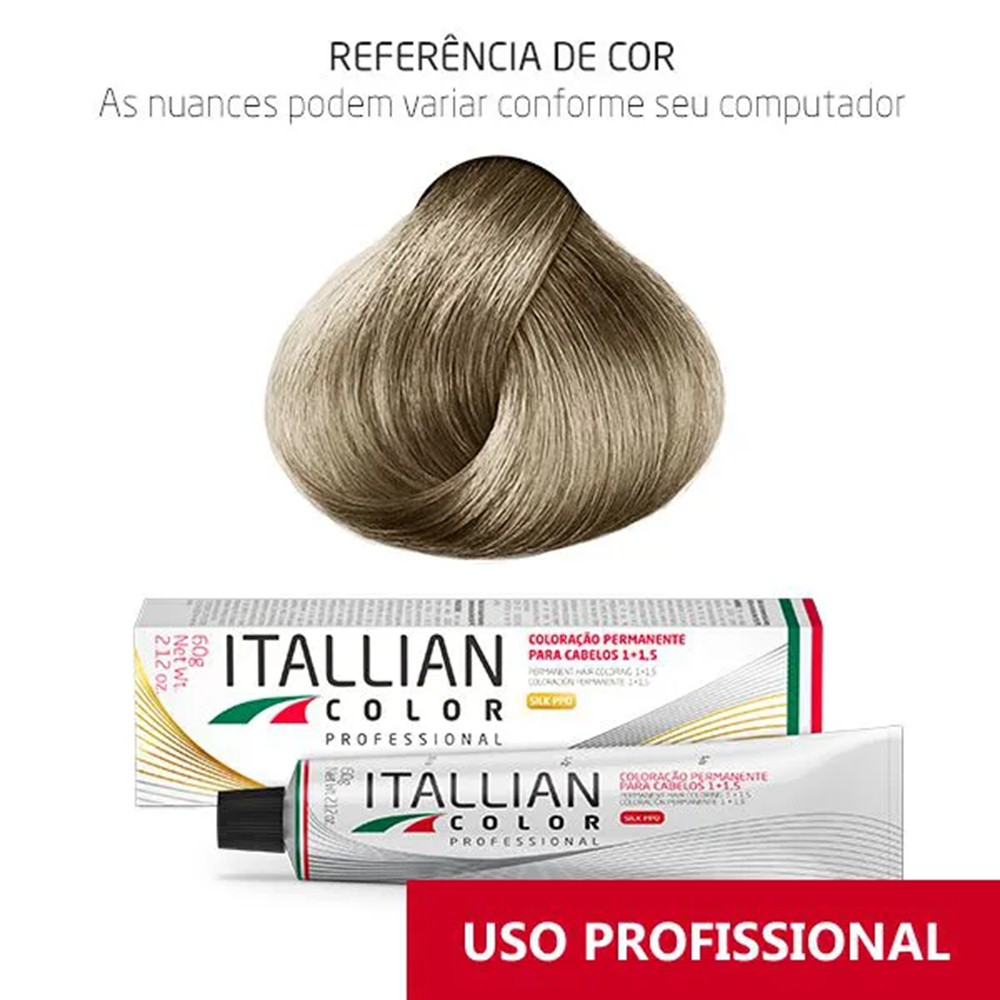 Coloração Profissional Louro Cinza Claríssimo 11.11 (19s) Itallian Color 60g