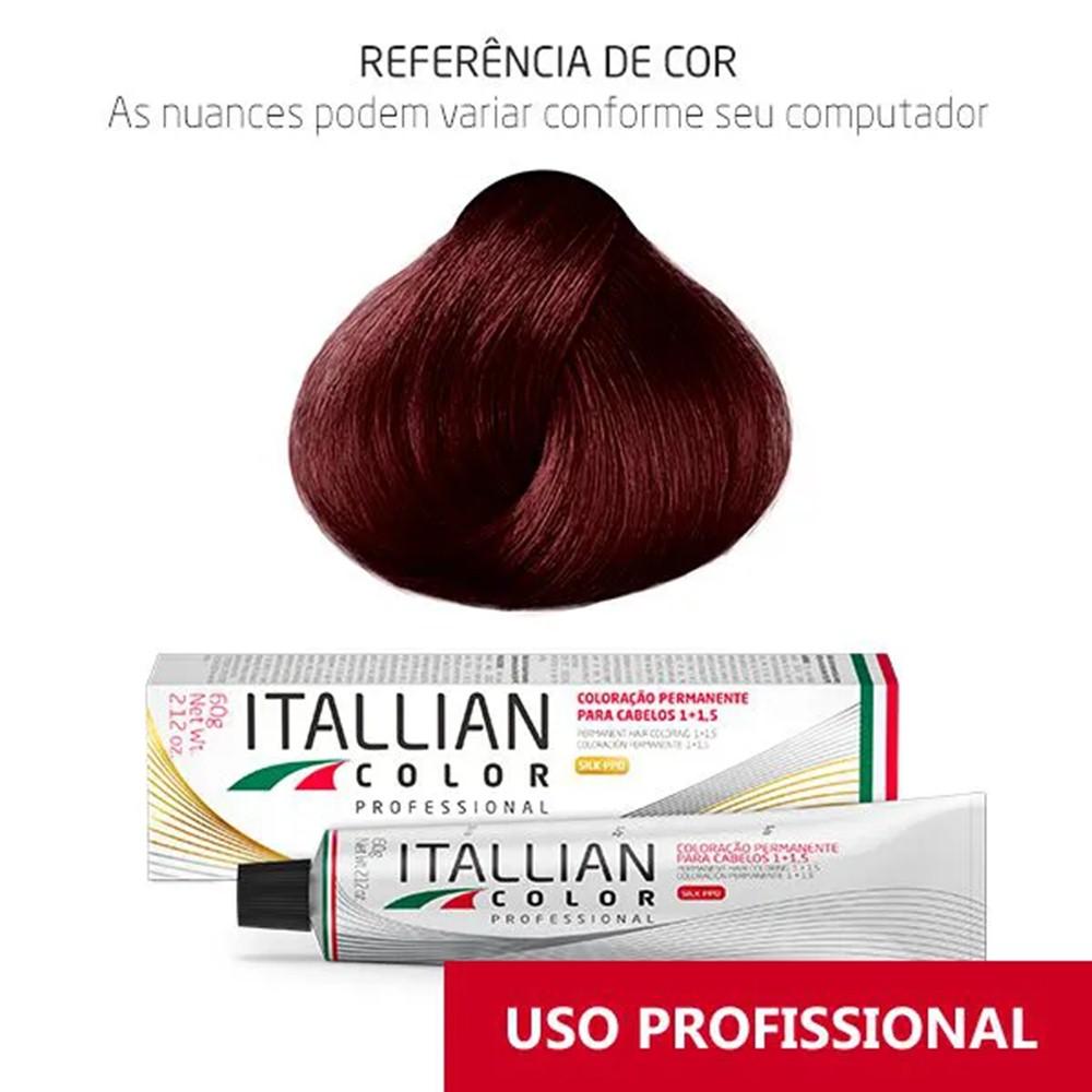 Coloração Profissional Louro Escuro Vermelho Irisado 6.62 (665) Itallian Color 60g