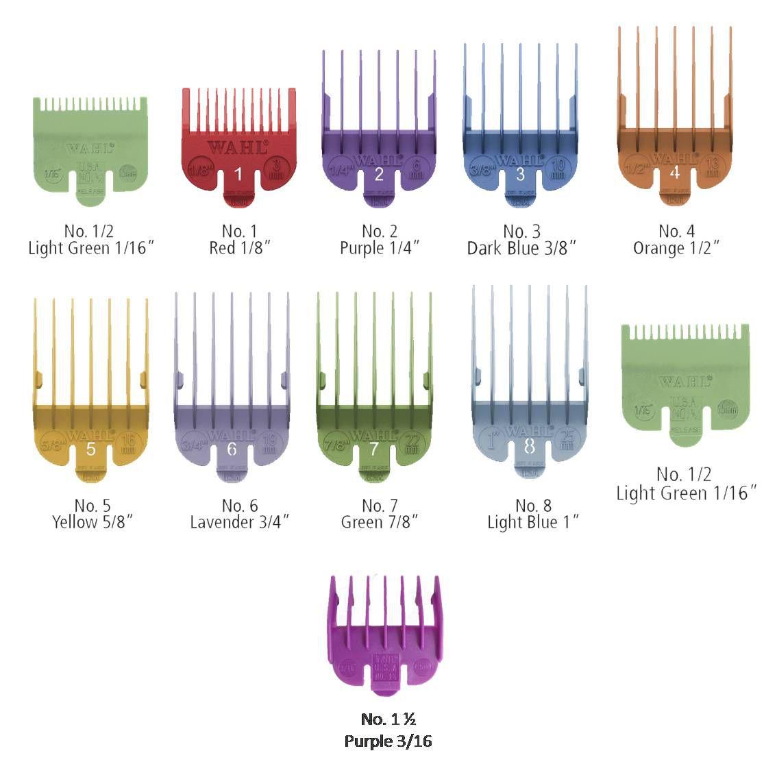 Conjunto 10 pentes guias coloridos para máquinas Wahl