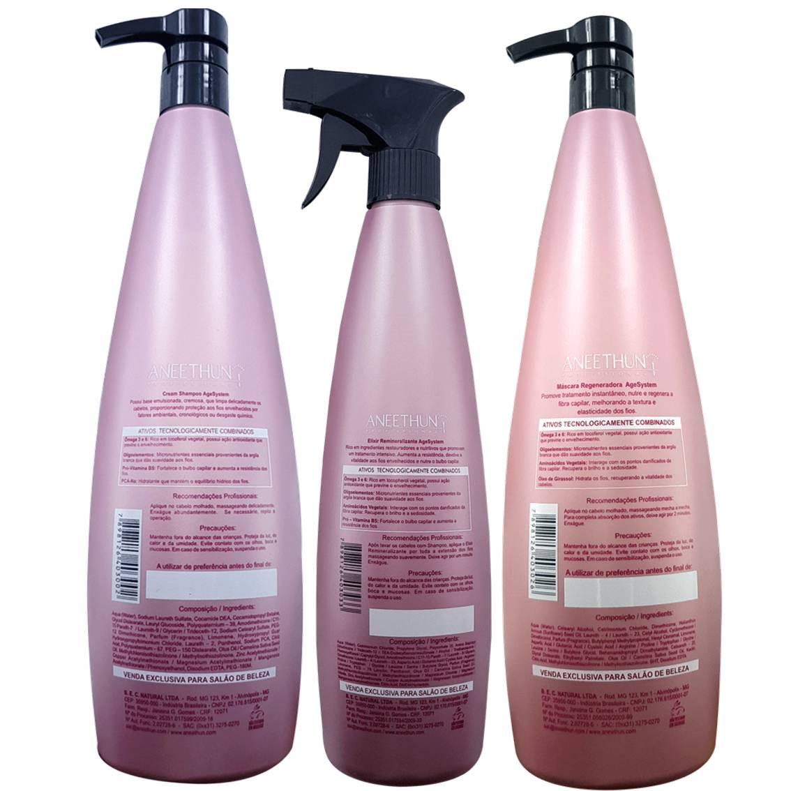 Kit Age Systen Aneethun - Shampoo 1l + Elixir 500 ml + Máscara 1l