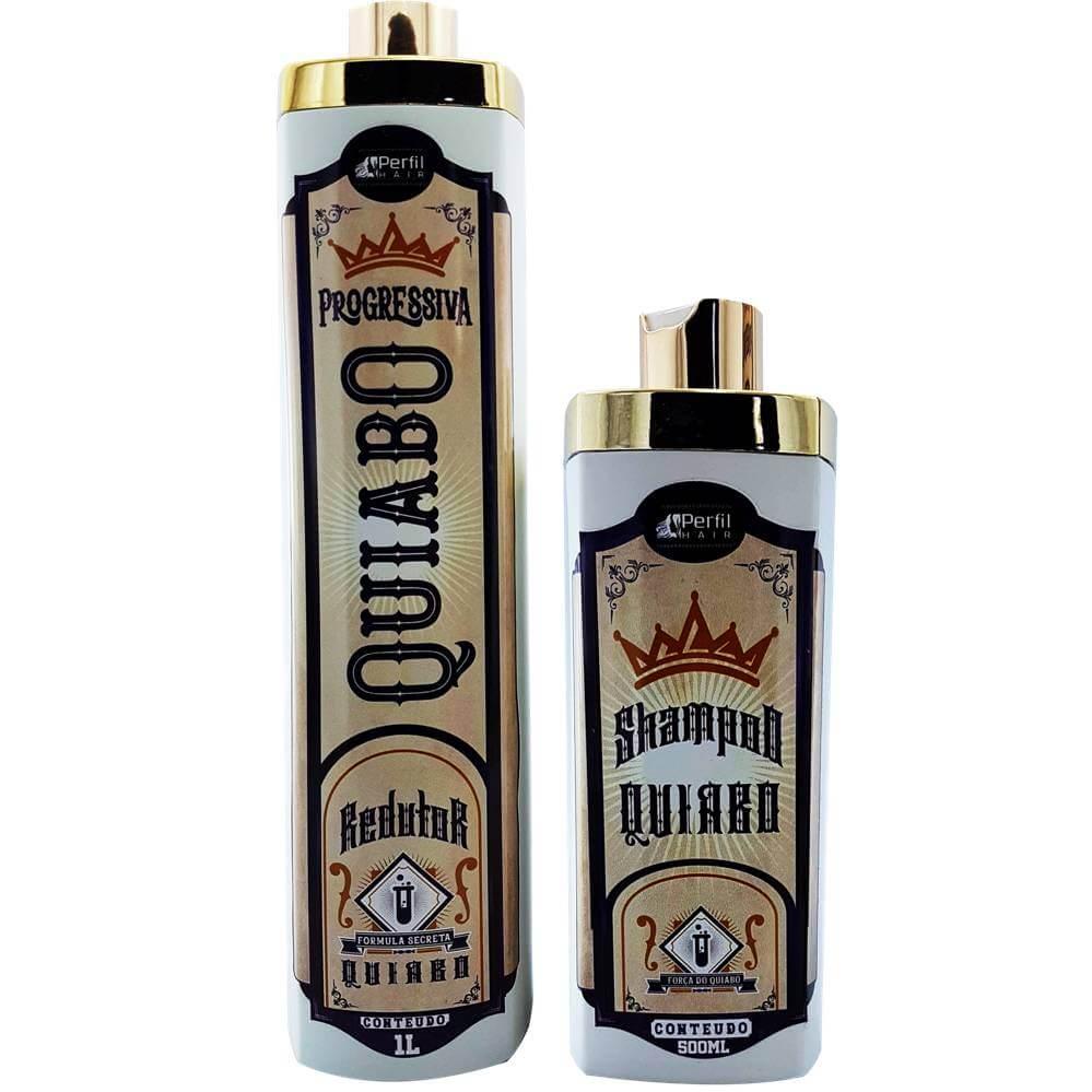 Kit Escova De Quiabo - Perfil Hair (Shampoo 300 ml + Ativo 1 Litro)