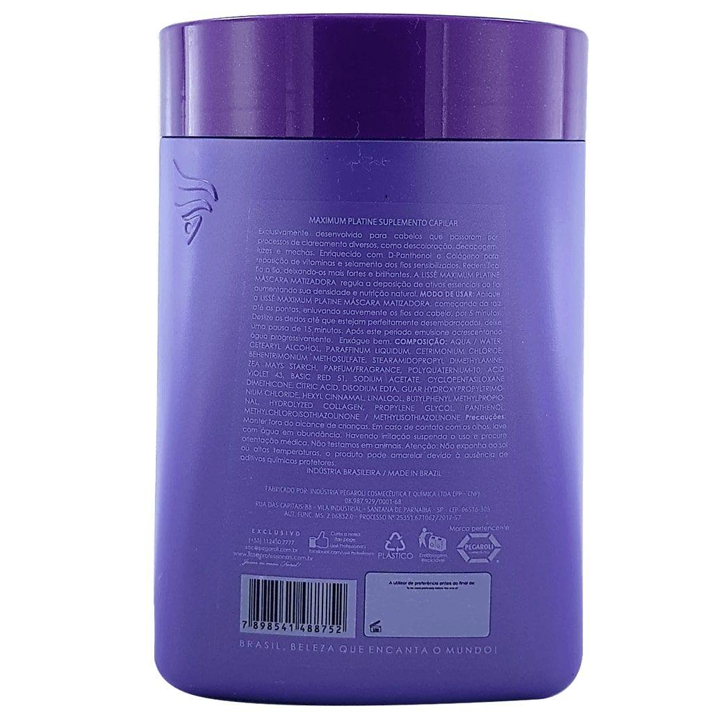 Kit Lissé Matizante Maximum Platine (Shampoo 1litro + Máscara 1kg) Cumbuca e Pincel de Brinde