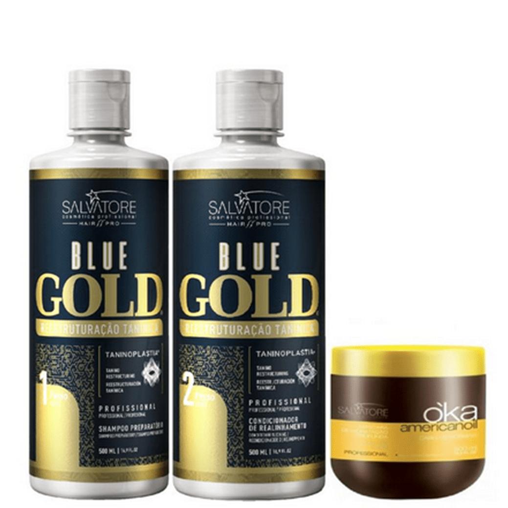 Kit Progressiva Blue Gold Passo 1 e 2 500ml com Brind Máscara Salvatore Profissional