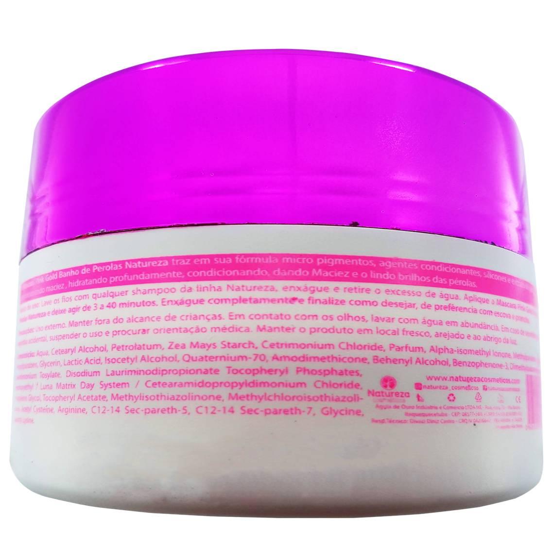 Máscara banho de pérola Pink Gold 300g - Natureza Cosméticos