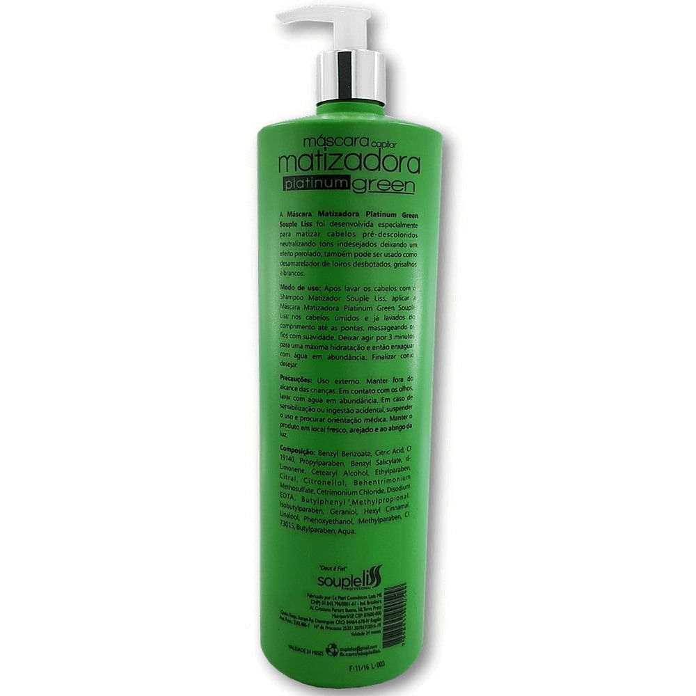 Máscara Matizadora Platinum Green Efeito Perolado 1 litro - Souple Liss