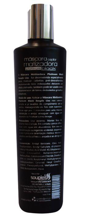 Máscara Nutritiva Matizadora Platinum Black Souple Liss Efeito Platinado - 300ML