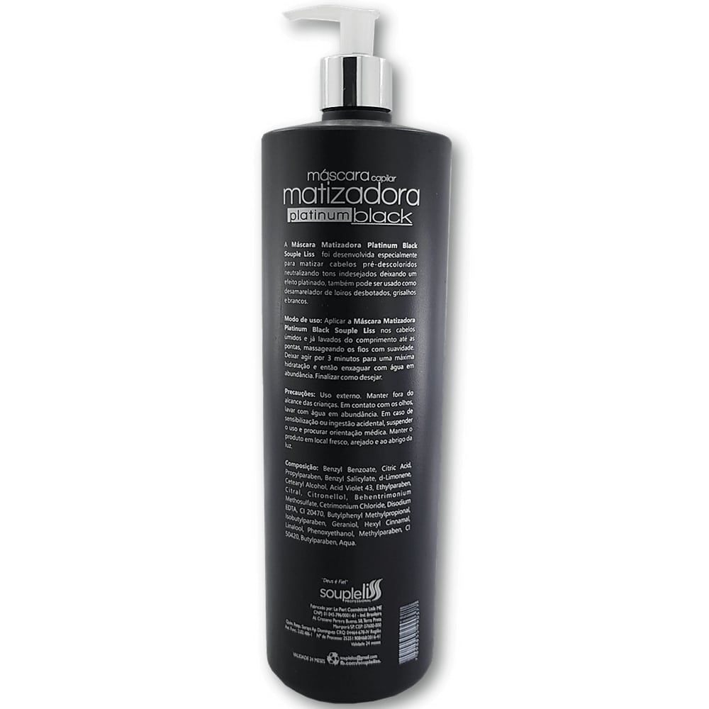 Máscara Nutritiva Matizadora Platinum Black Souple Liss Efeito Platinado - 1 litro