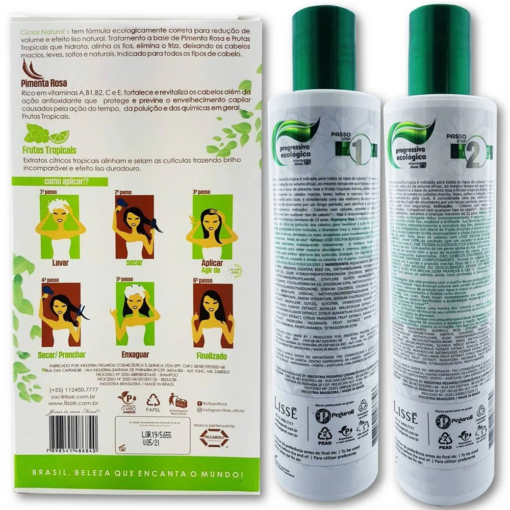 Progressiva Ciclo Natural Orgânica sem formol Lissé – Shampoo 300 ml + Redutor 300 ml