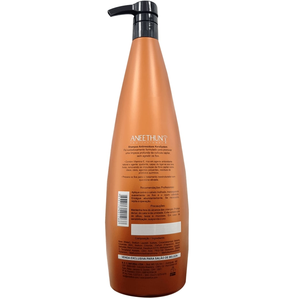 Shampoo Antirresíduos Kera System Aneethun 1 litro – Proteção Regeneradora