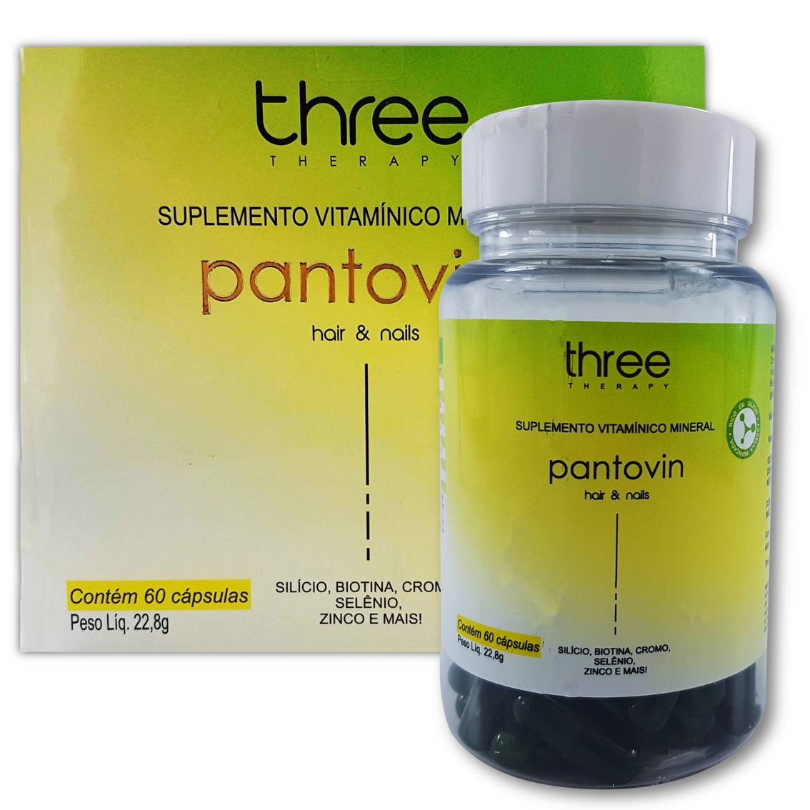 Suplemento Vitamínico Pantovin 60 capsulas – Crescimento de cabelos e unhas