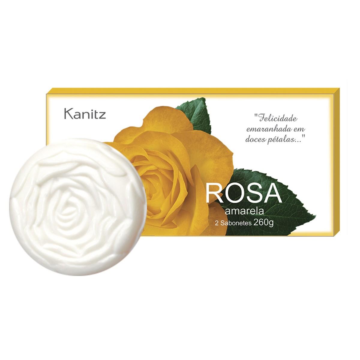 Estojo Sabonete Rosa Amarela 2x130g