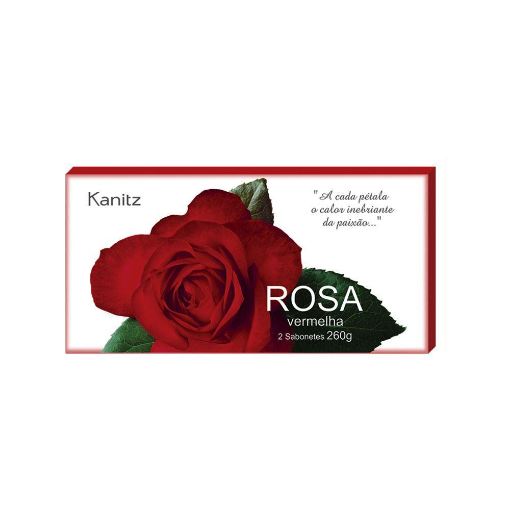 Estojo Sabonete Rosa Vermelha 2x130g