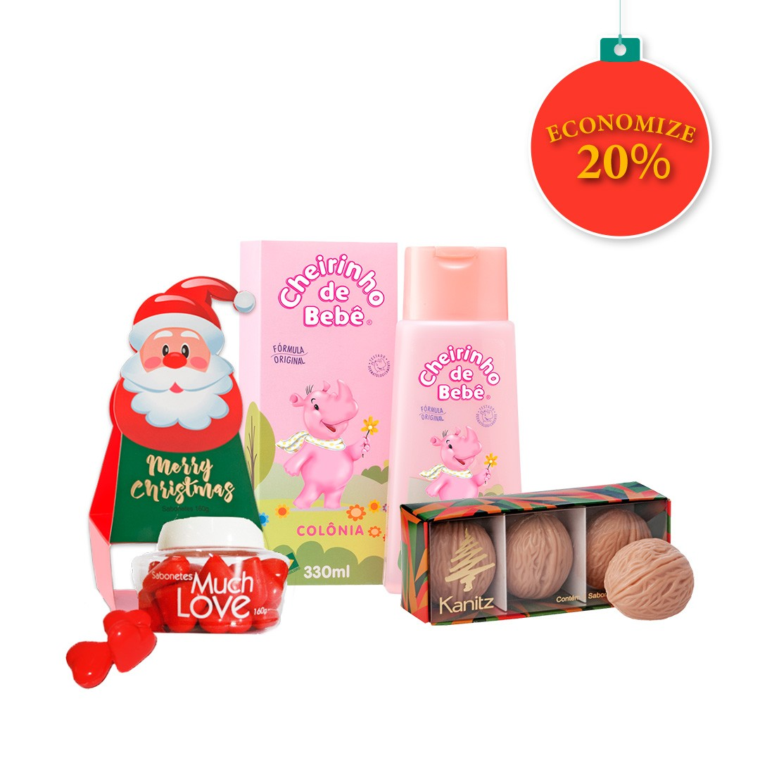 KIT NATAL - Colônia Cheirinho de Bebê 330ml, Sabonete Christmas Much Love 160g, Estojo Sabonete Nozes 3x55g