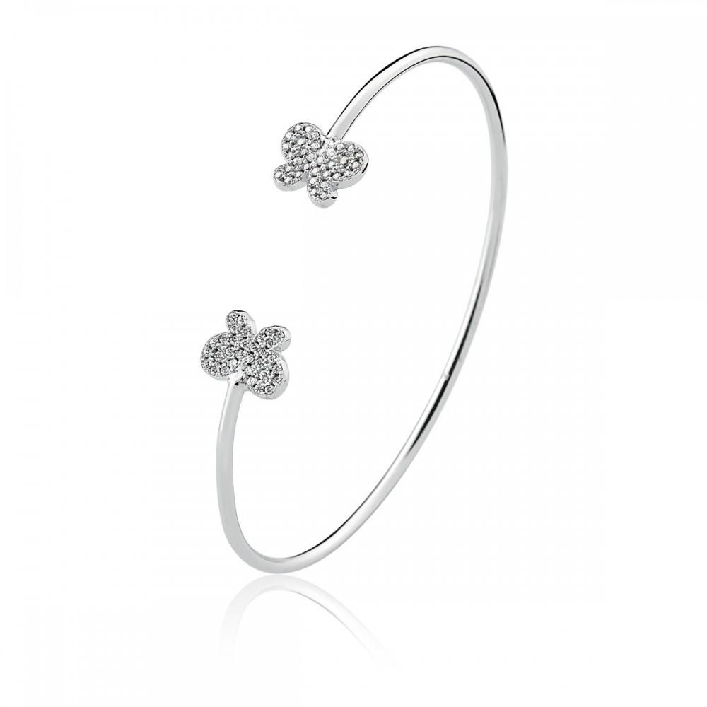 Bracelete Borboleta Cravejado com Zircônias Brancas Folheado a Ródio