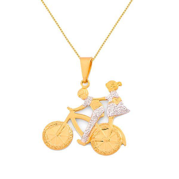 Corrente e Pingente Folheado a Ouro Menino e Menina Vazado na Bicicleta e022c254bb
