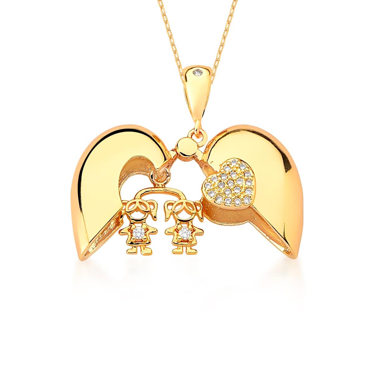 Corrente e Pingente Relicário Folheado a Ouro Coração Duas (2) Meninas cravejado com Zircônias