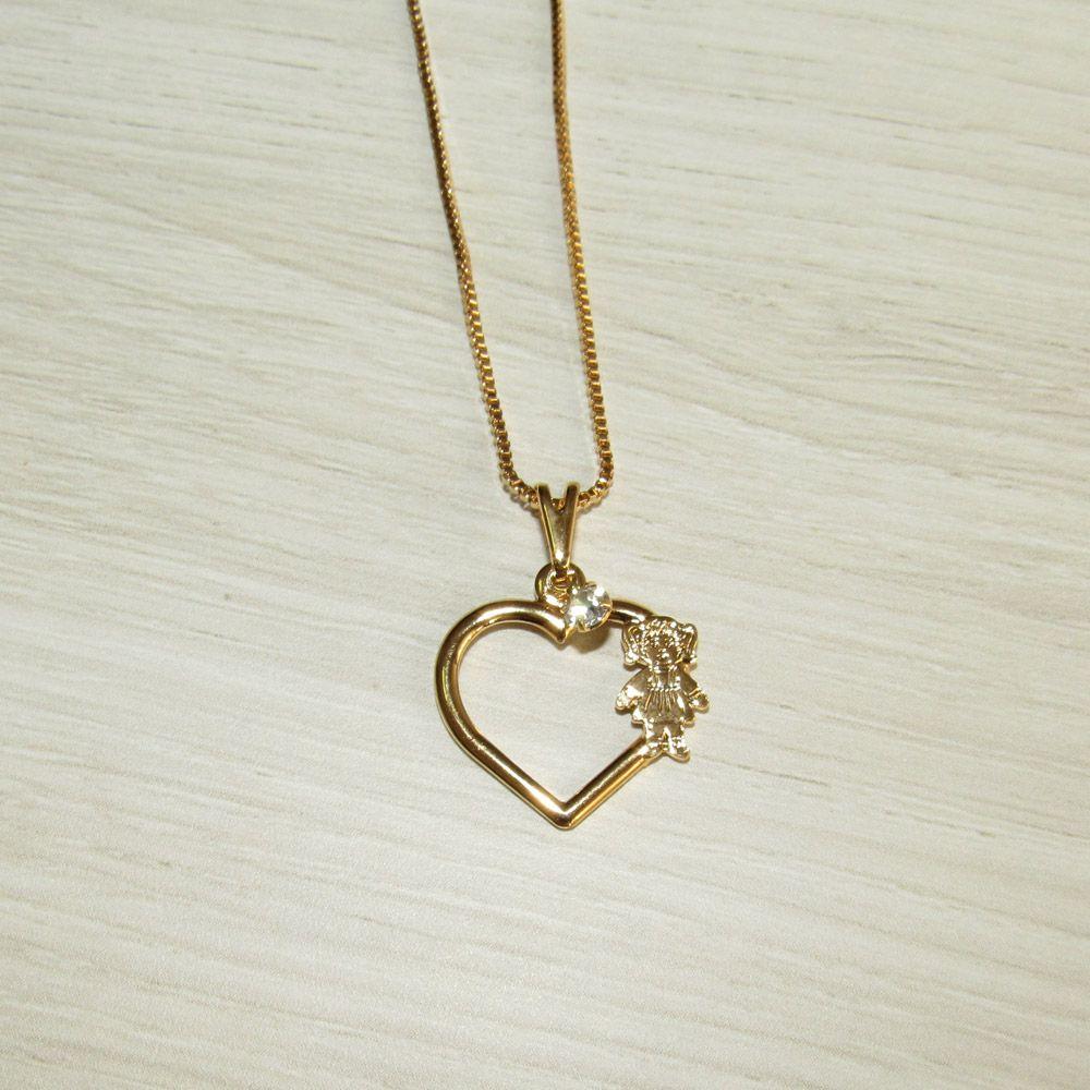 Corrente Filha Folheada a Ouro e Pingente Formato Coração com Zircônias  Brancas e Menina 049dad7396