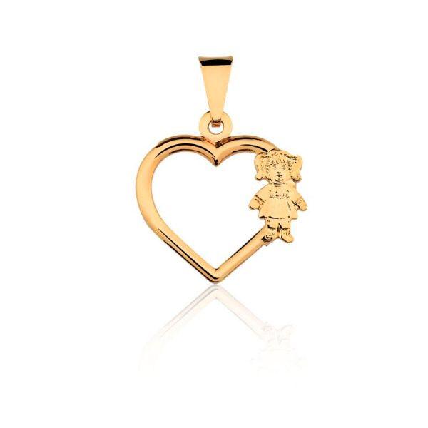 ... Corrente Filha Folheada a Ouro e Pingente Formato Coração com Zircônias  Brancas e Menina ... aa93372946
