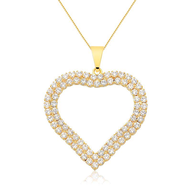 Corrente Folheado a Ouro com Pingente Coração Vazado Cravejado com Zircônias Brancas Amor