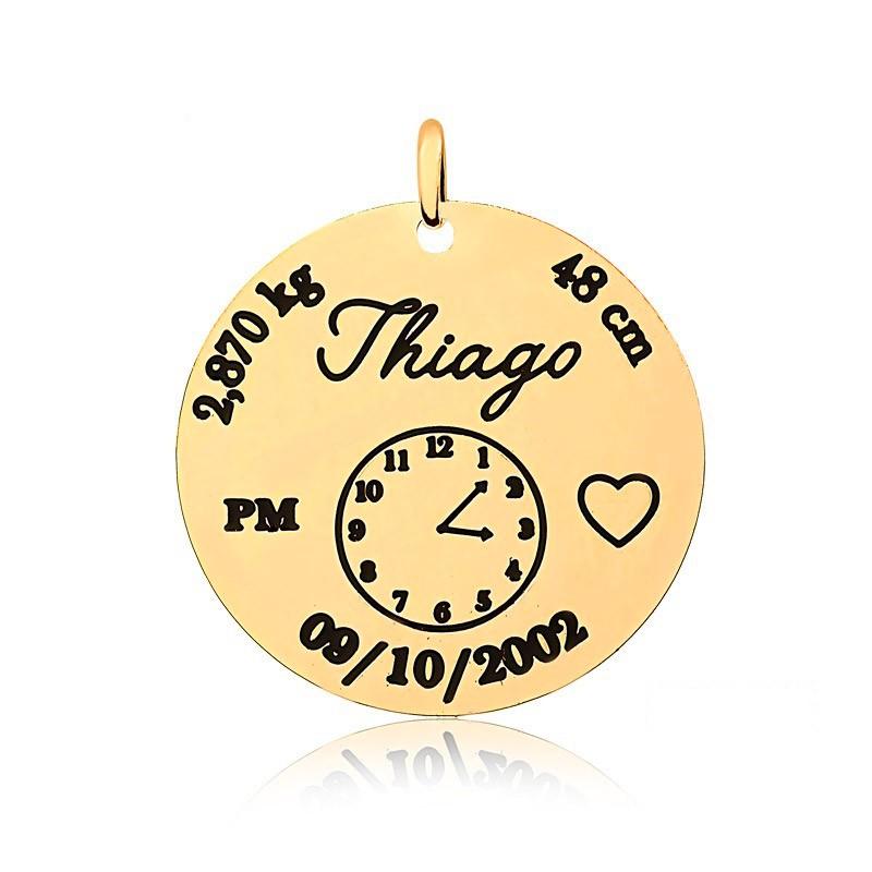 Corrente Personalizado 1 Nome com Relógio Folheado Ouro
