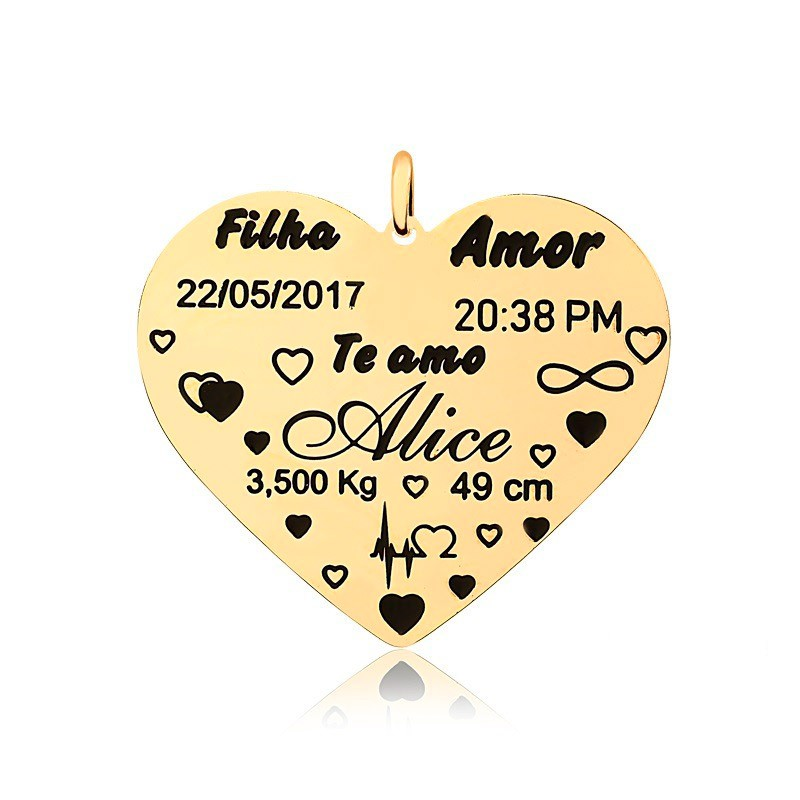 Corrente Personalizado 1 Nome Coração Grande Folheado Ouro