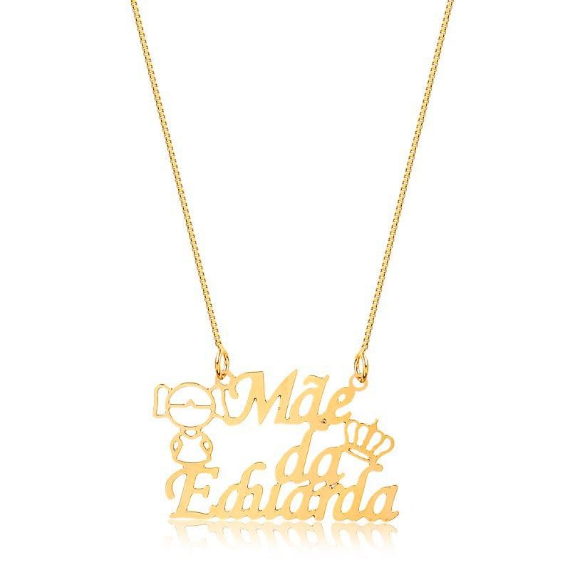 Corrente Personalizado 1 Nome Menina e Coroa Folheado Ouro