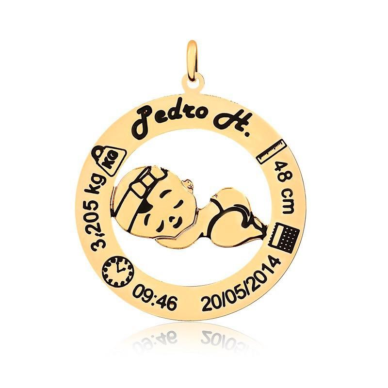 Corrente Personalizado Bebê 1 Nome Folheado Ouro