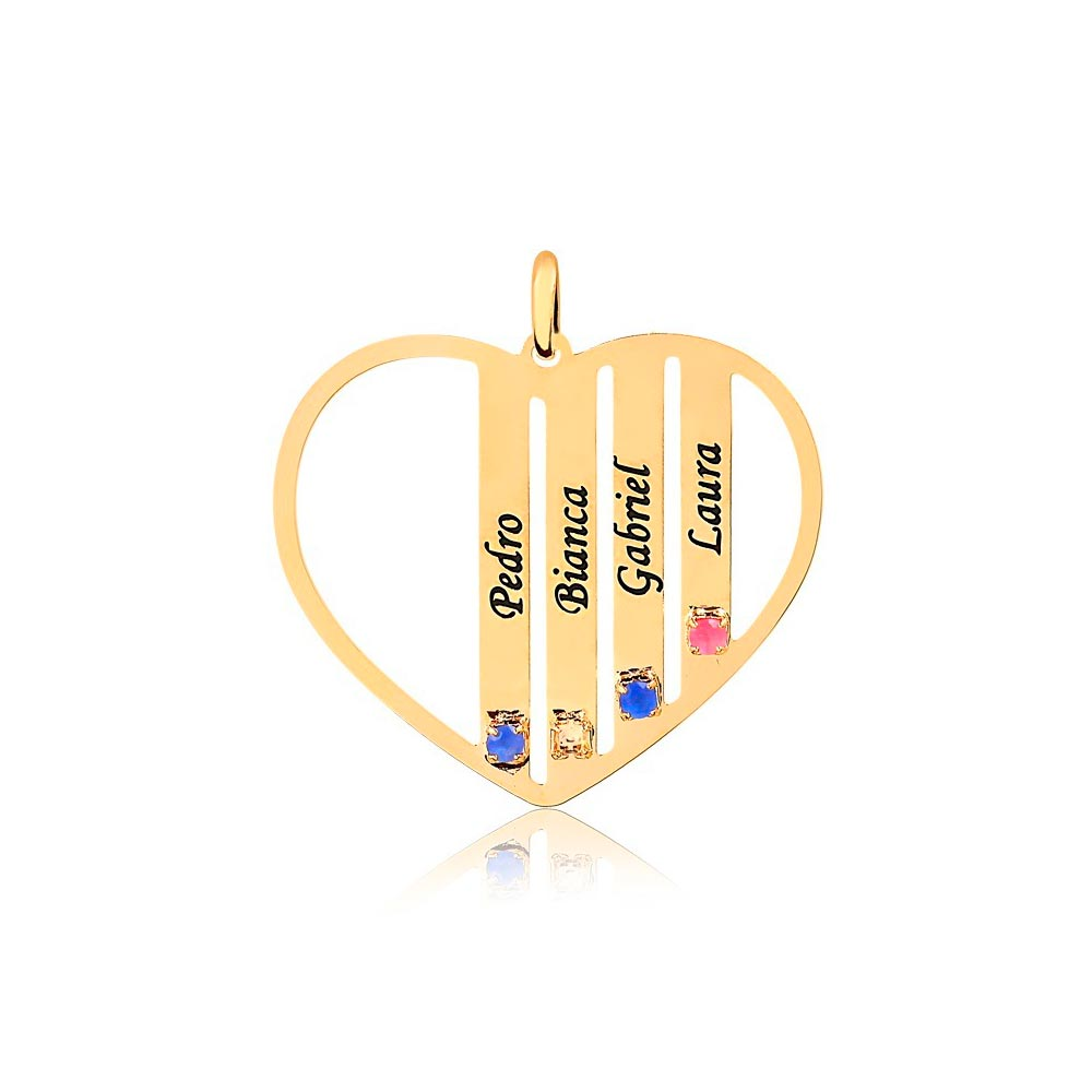 Corrente Personalizado Coração 4 Nomes Folheado Ouro com Zircônias Coloridas