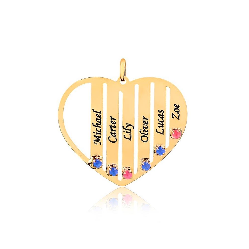 Corrente Personalizado Coração 6 Nomes Folheado Ouro com Zircônias Coloridas