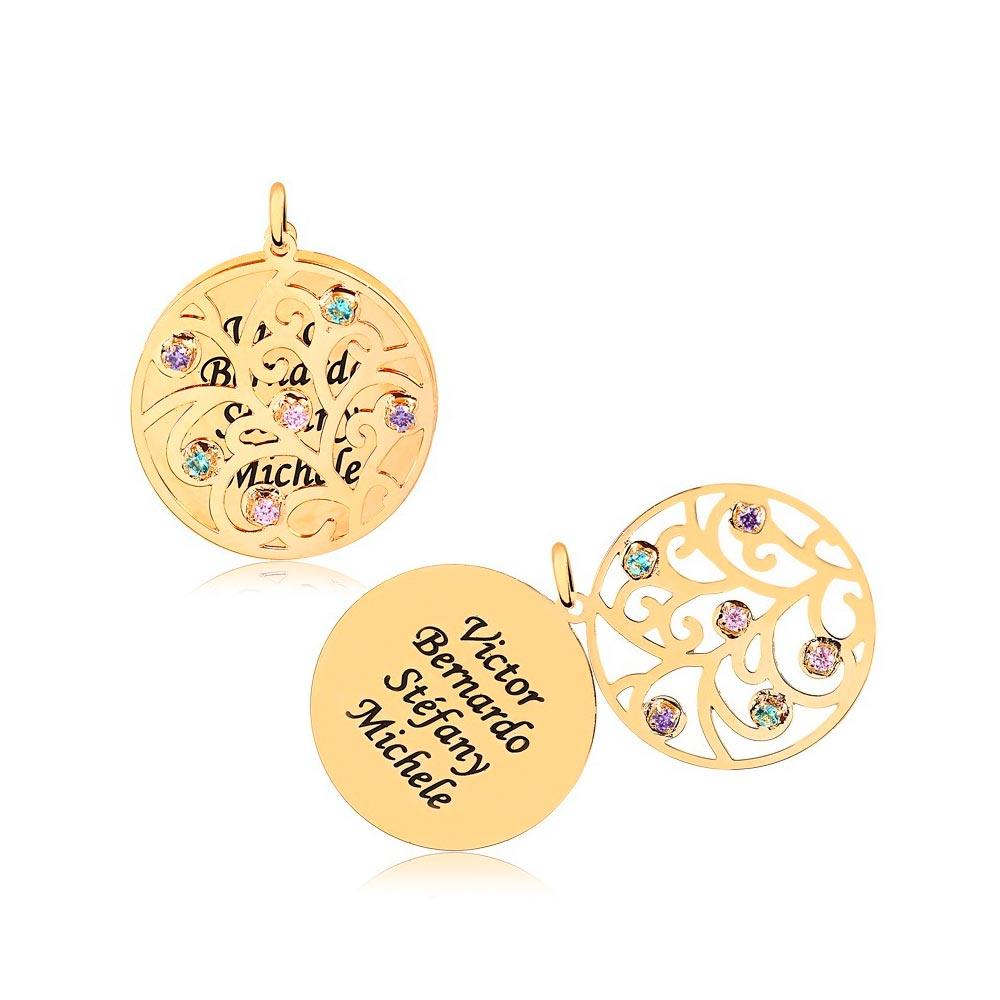 Corrente Personalizado Redondo 4 Nomes Folheado Ouro com Zircônias Coloridas Arabescos Vazados