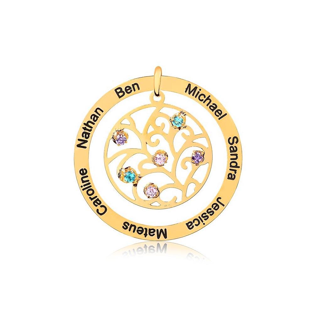 Corrente Personalizado Redondo 7 Nomes Folheado Ouro com Zircônias Coloridas Arabescos Vazados