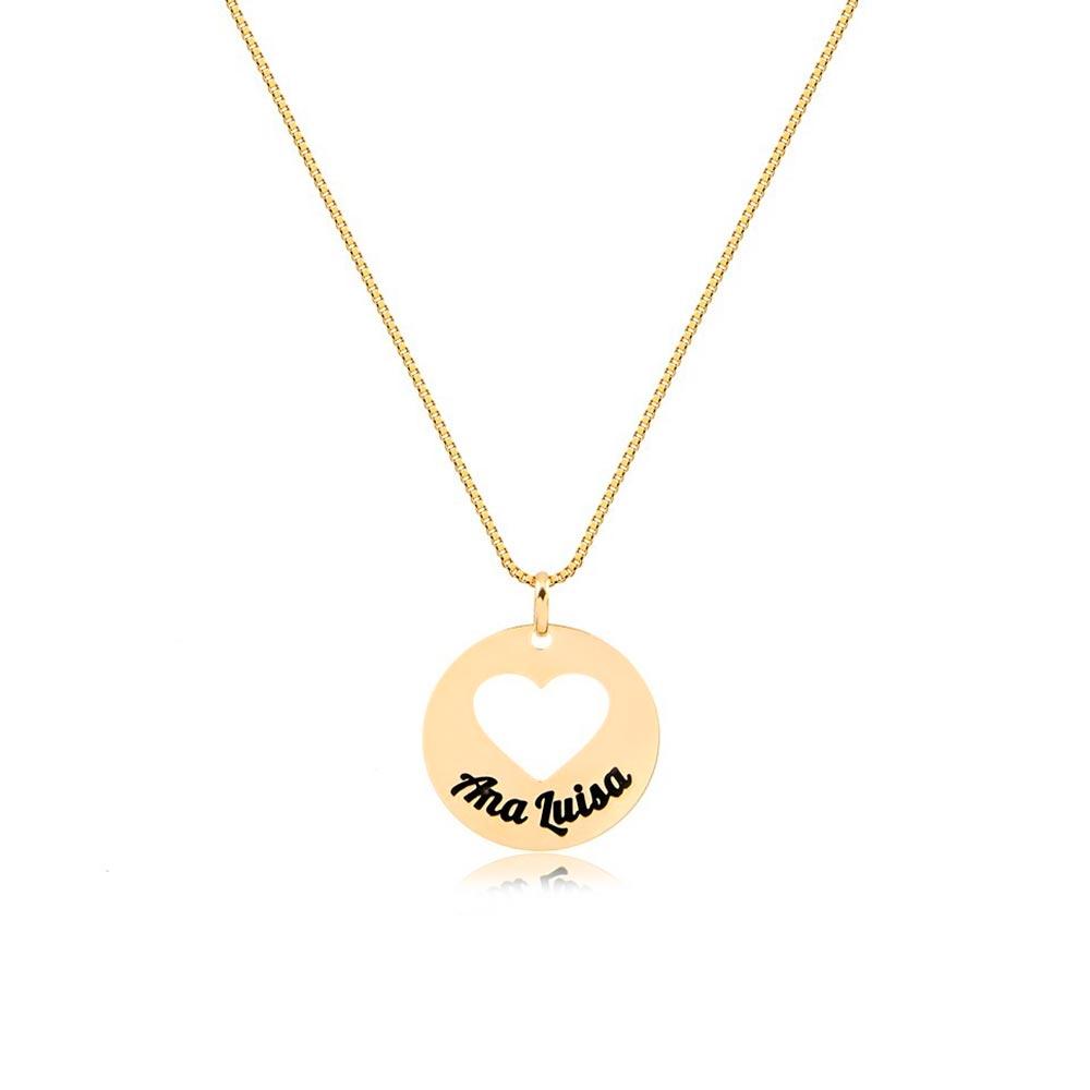Corrente Personalizado Redondo com Coração Vazado 1 Nome Esmaltado Folheado Ouro