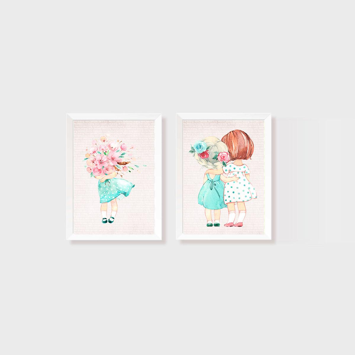 Kit 2 Quadros Aquarela Meninas e Flores