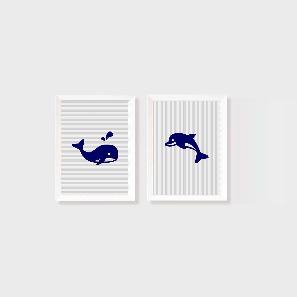 Kit 2 Quadros Baleia e Golfinho Azul Marinho Listrado