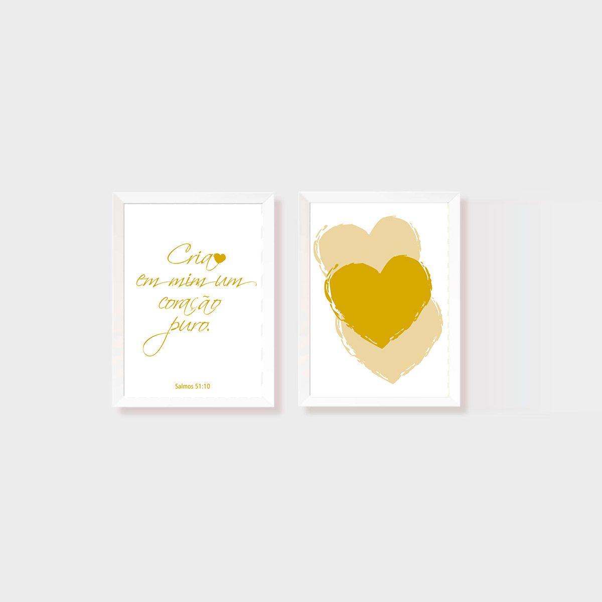 Kit 2 Quadros Cria em mim um coração puro Amarelo