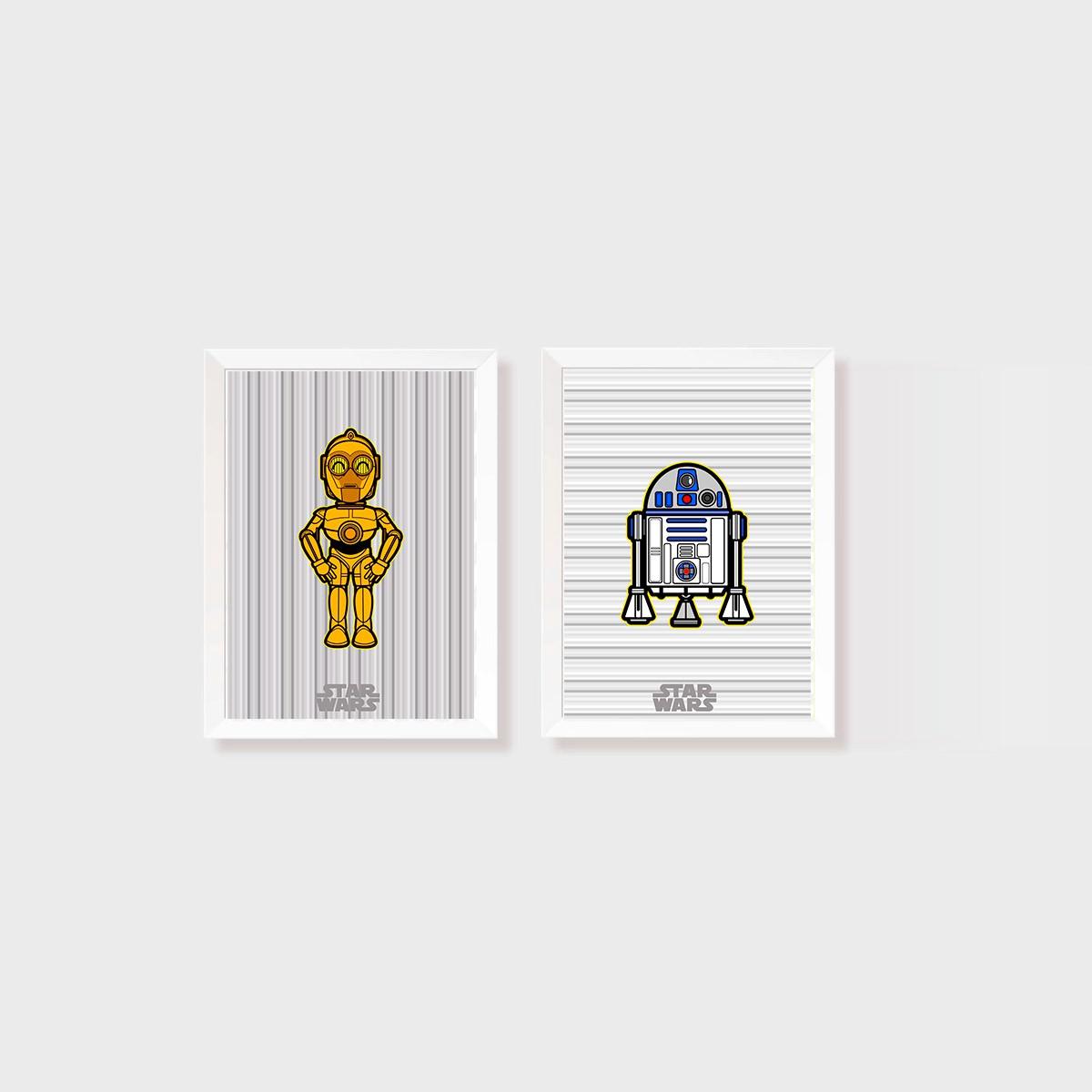 Kit 2 Quadros Star Wars C3PO e H2D2