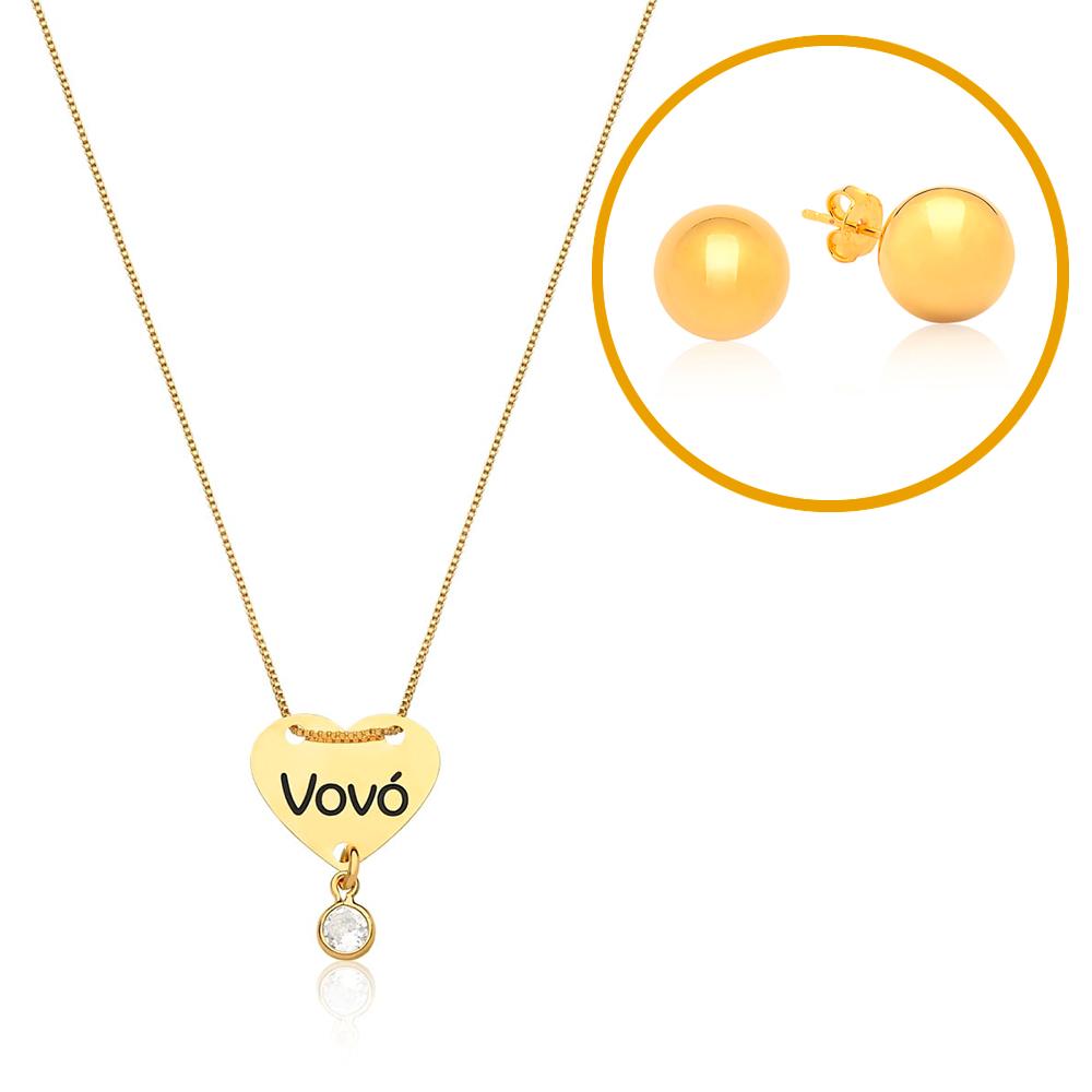 Kit Brinco Folheado a Ouro Bolinha Dourada + Corrente Folheada a Ouro com Pingente Coração Vovó Esmaltado e Zircônia