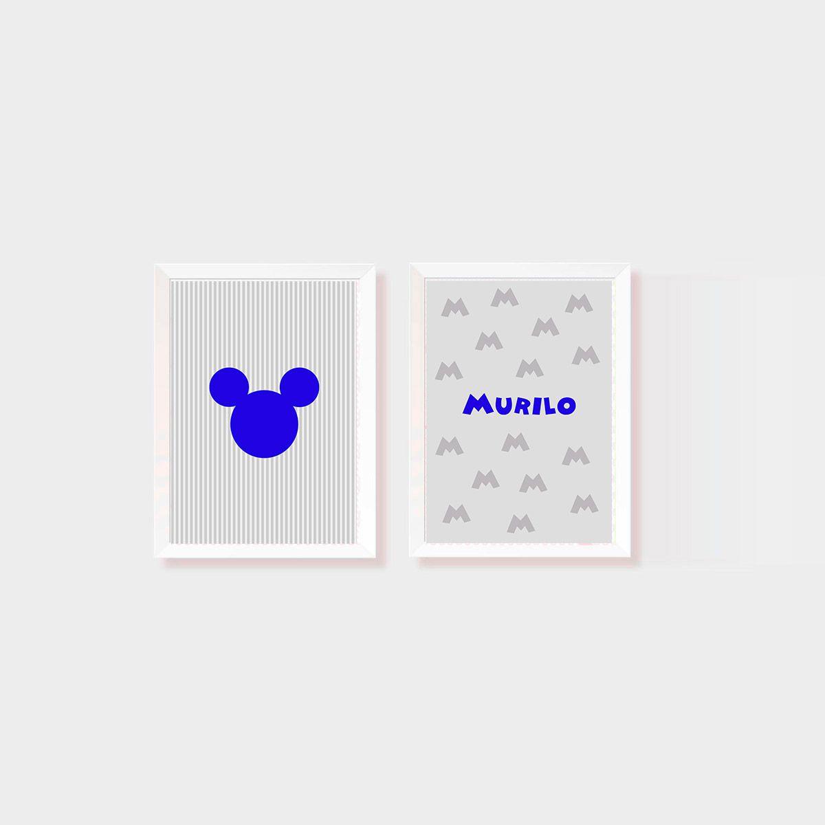 Kit Dois Quadros Mickey e Nome Personalizado Azul