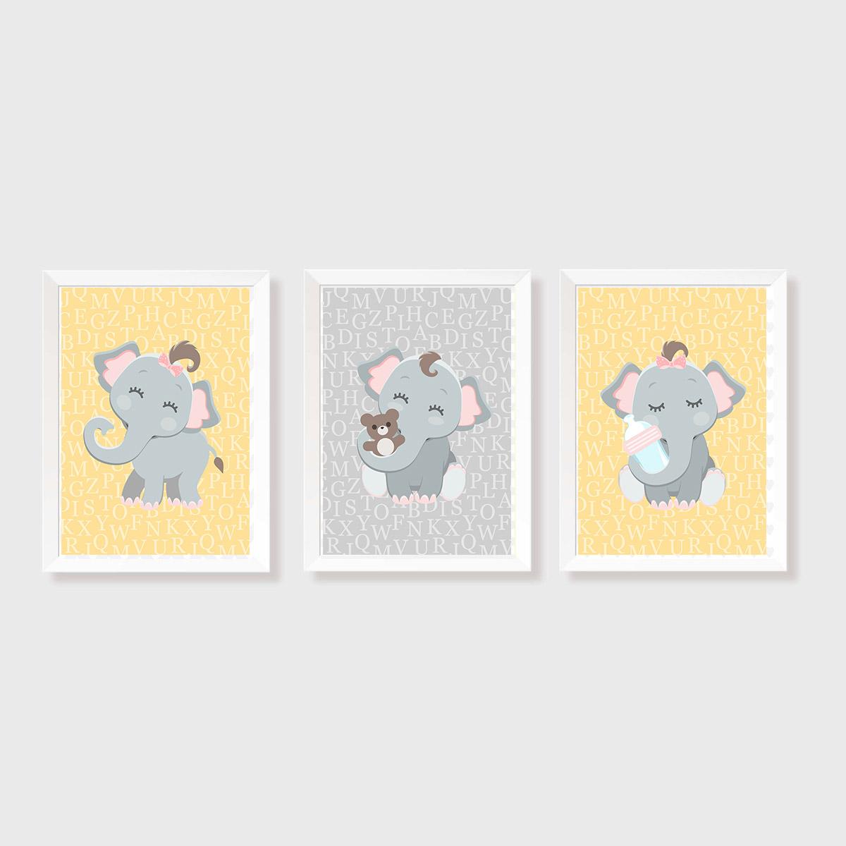 Kit Três Quadros Elefantes Amarelo