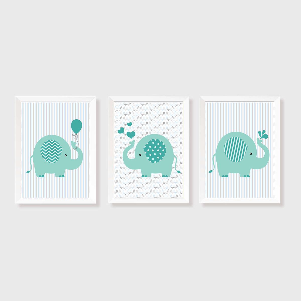 Kit Três Quadros Elefantes Verde