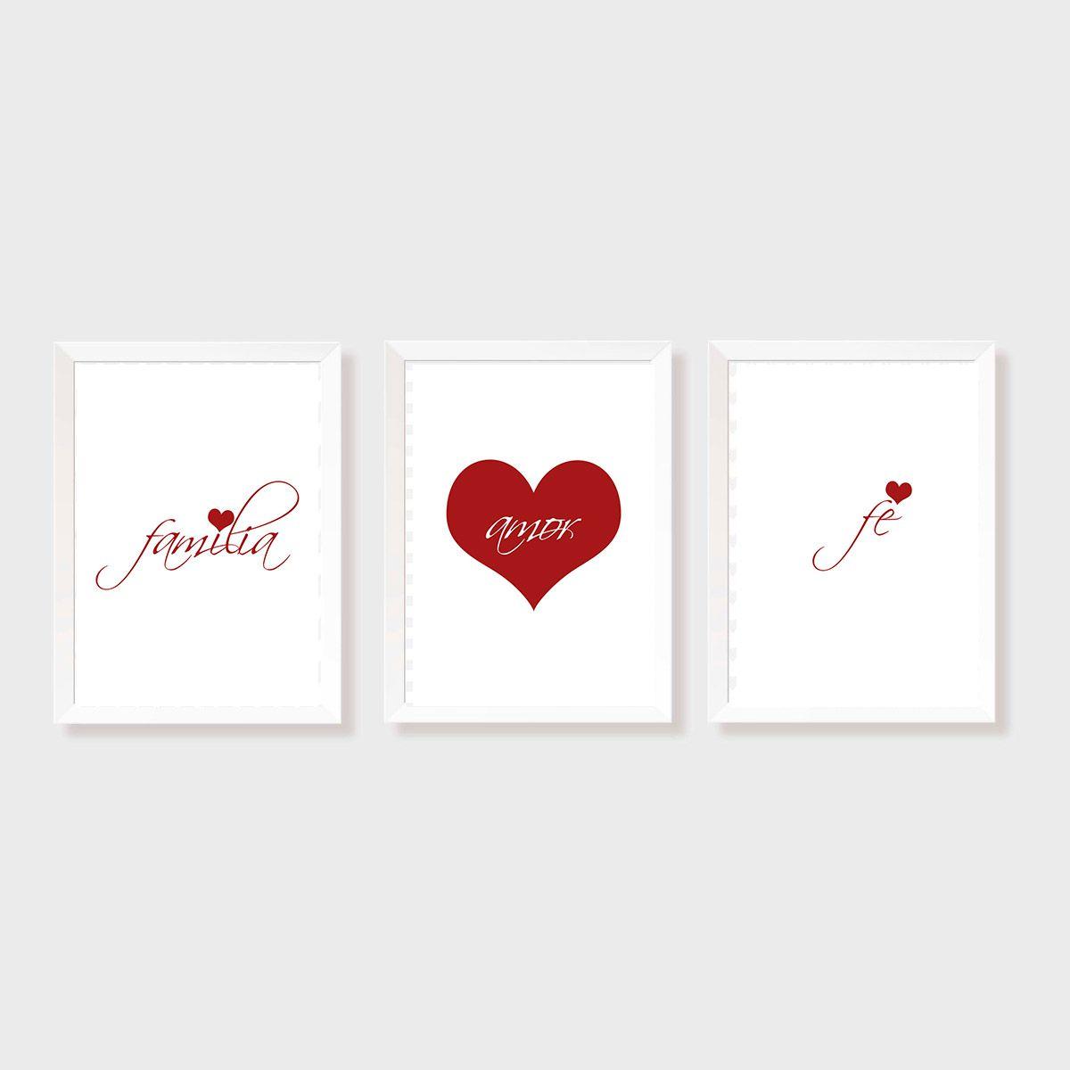 Kit Três Quadros Família, Amor e Fé