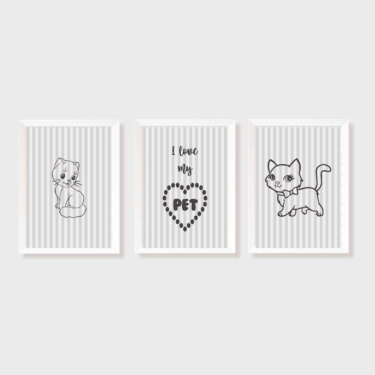 Kit Três Quadros I Love my PET (Gato)