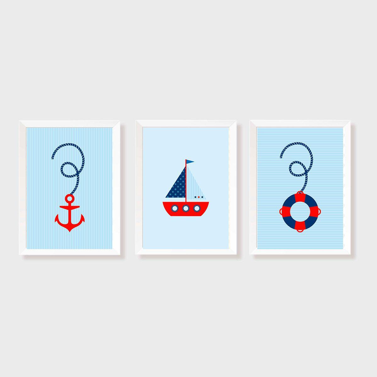 Kit Três Quadros Marinheiro - Barco, Boia e Âncora