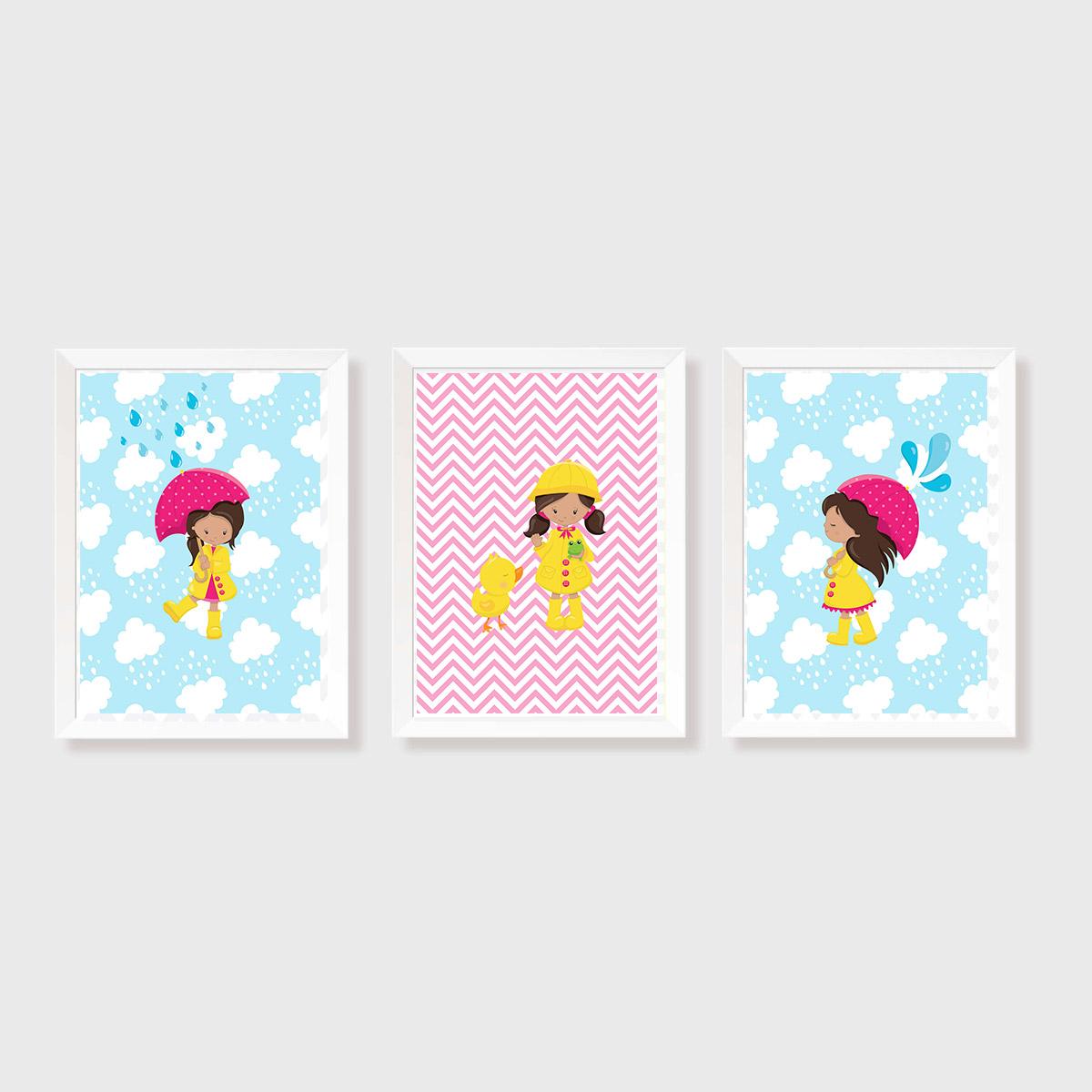 Kit Três Quadros Menina, Chuva, Guarda-Chuva