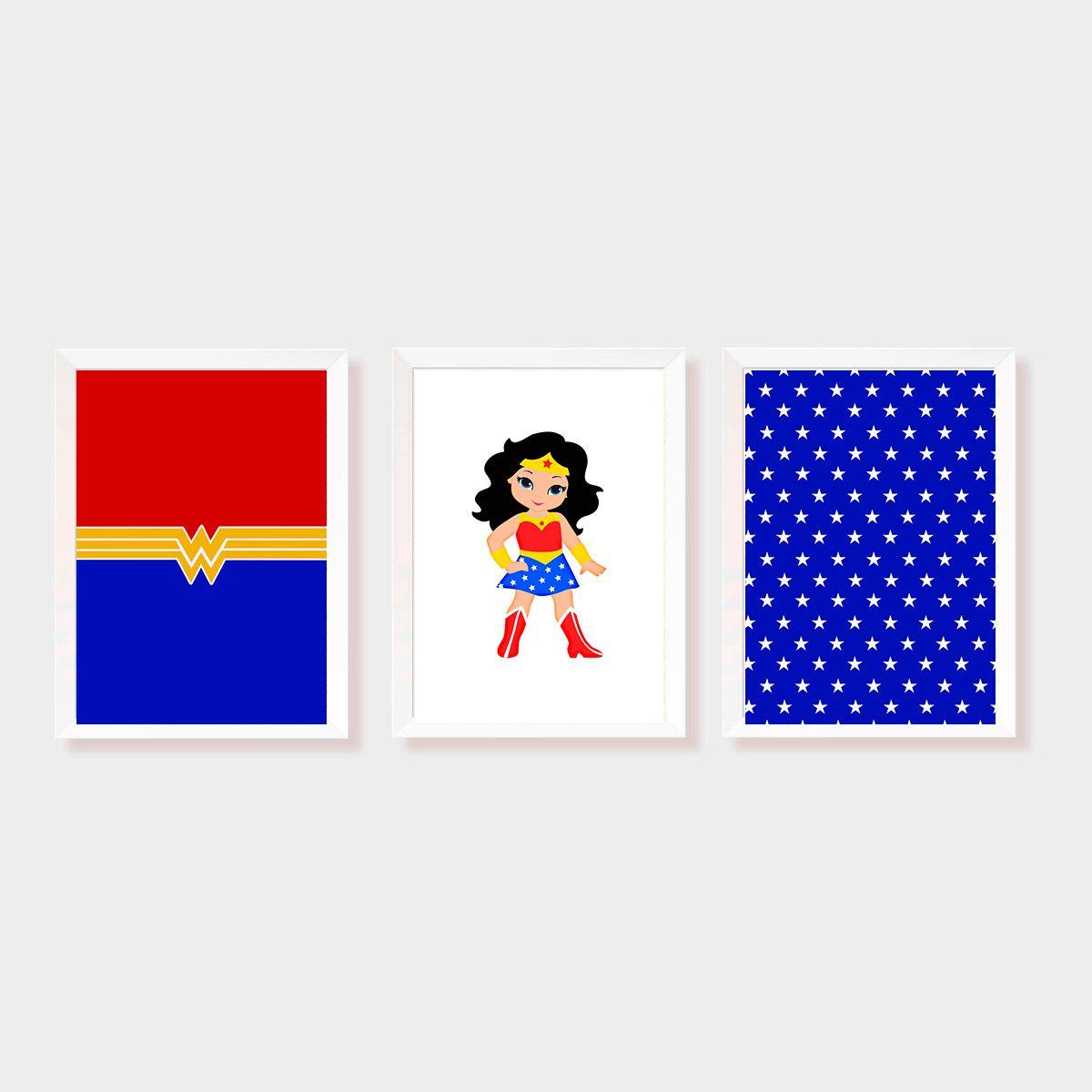Kit Três Quadros Mulher Maravilha KID