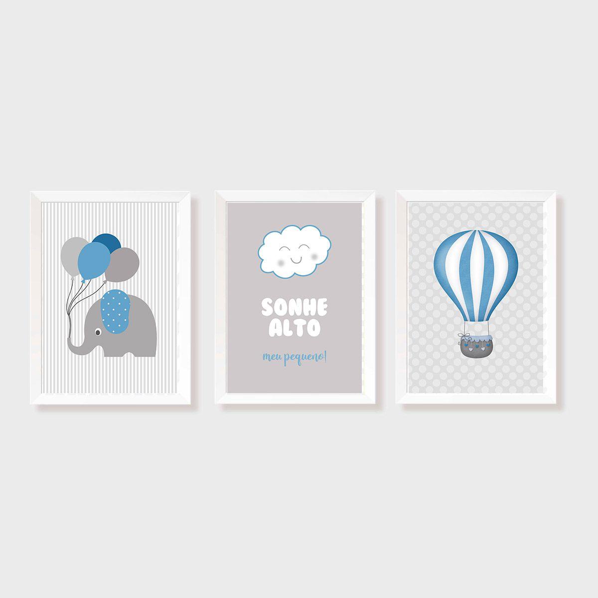 Kit Três Quadros Sonhe Alto, Balão e Elefante Azul e Cinza