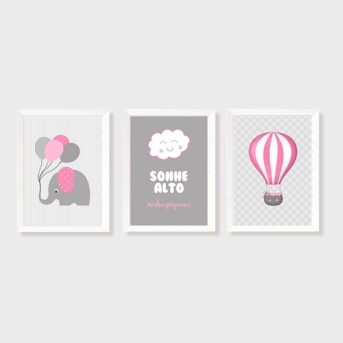 Kit Três Quadros Sonhe Alto, Balão e Elefante Rosa e Cinza