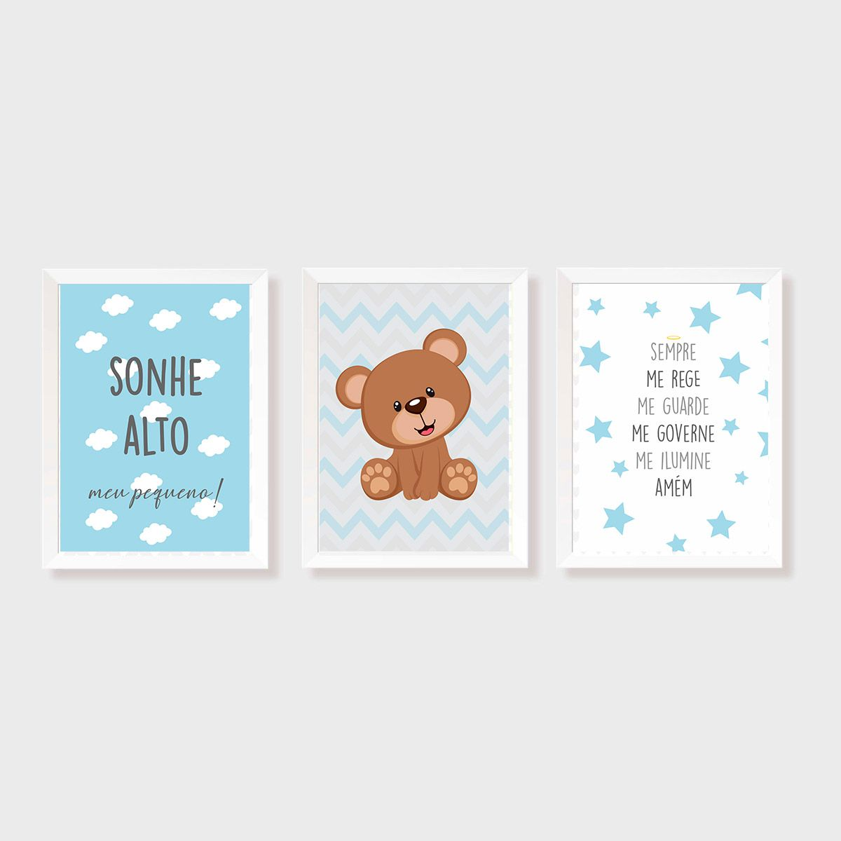 Kit Três Quadros Sonhe Alto, Balão, Urso e Santo Anjo Personalizado Azul e Cinza